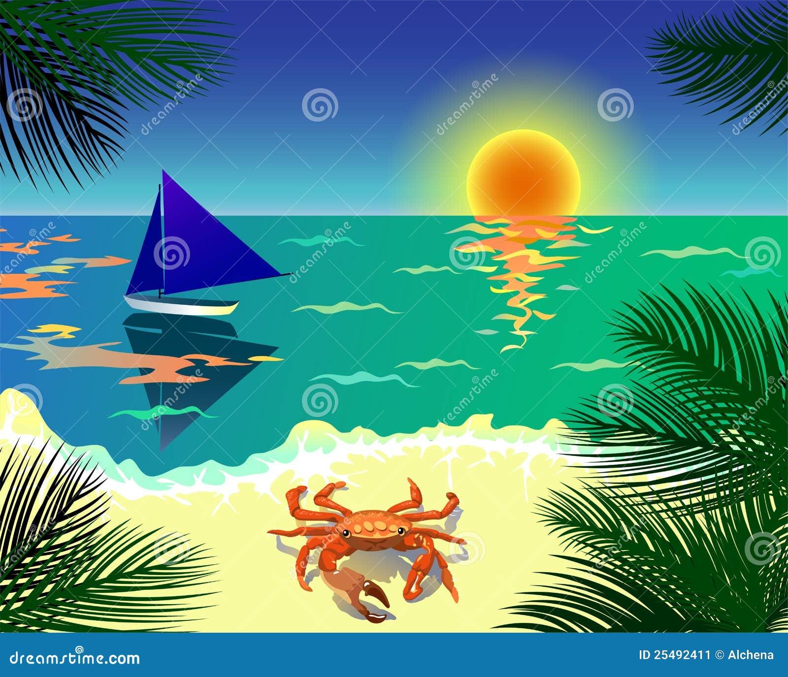 tropical beach vector illustration stock vector