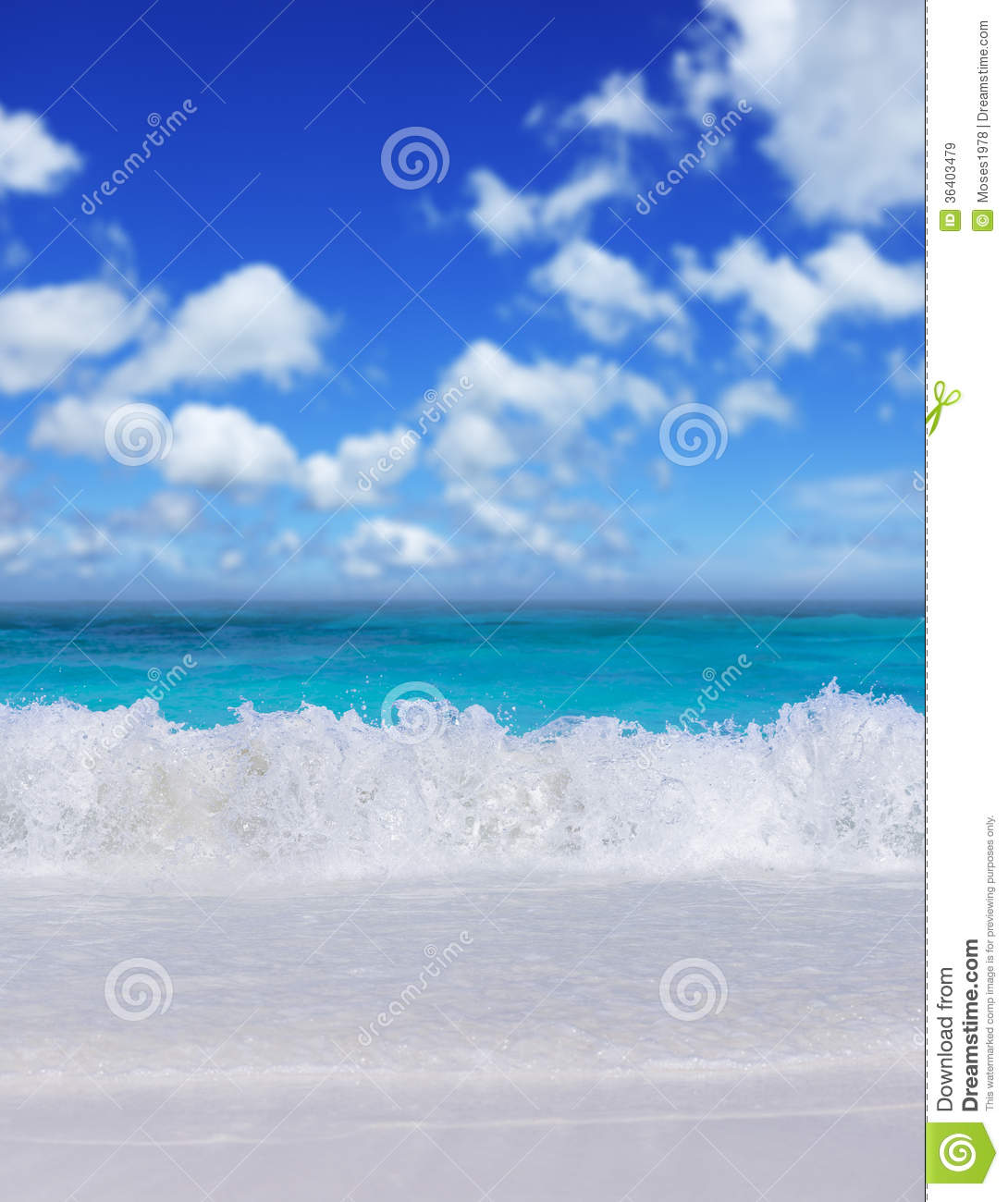 Tropical Beach And Peaceful Ocean: Tropical Beach. Vertical Composition. Royalty Free Stock