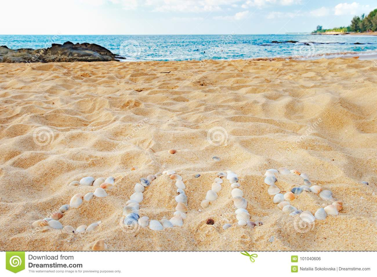 Tropical beach and 2018 happy new year stock photo image for Tropical vacations in december