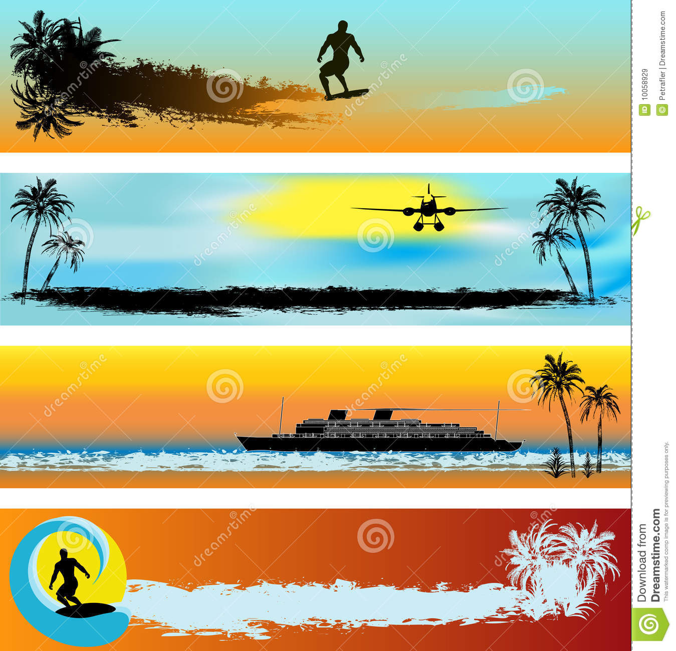 Tropical Beach Web Banner Templates Royalty Free Stock Images ...