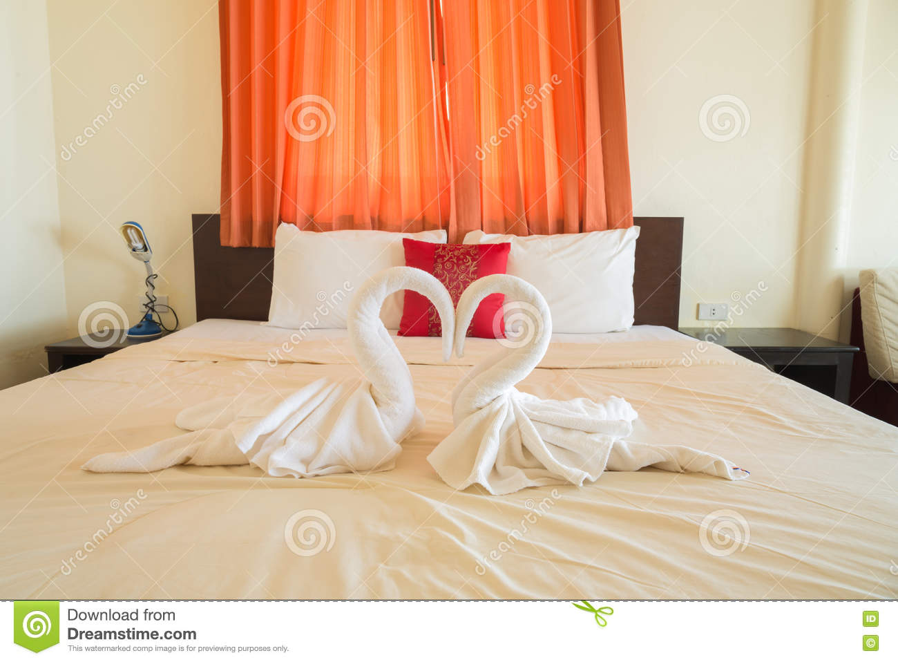 Tropical Bedroom Interior With Double Bed Stock Photo Image Of Resort Pillow 73673552