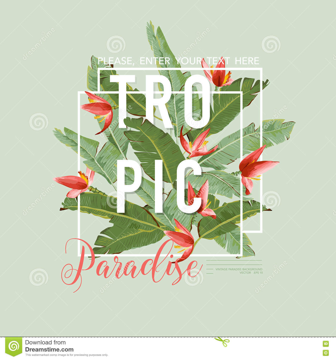 Tropical Bird And Flowers Graphic Design For T Shirt