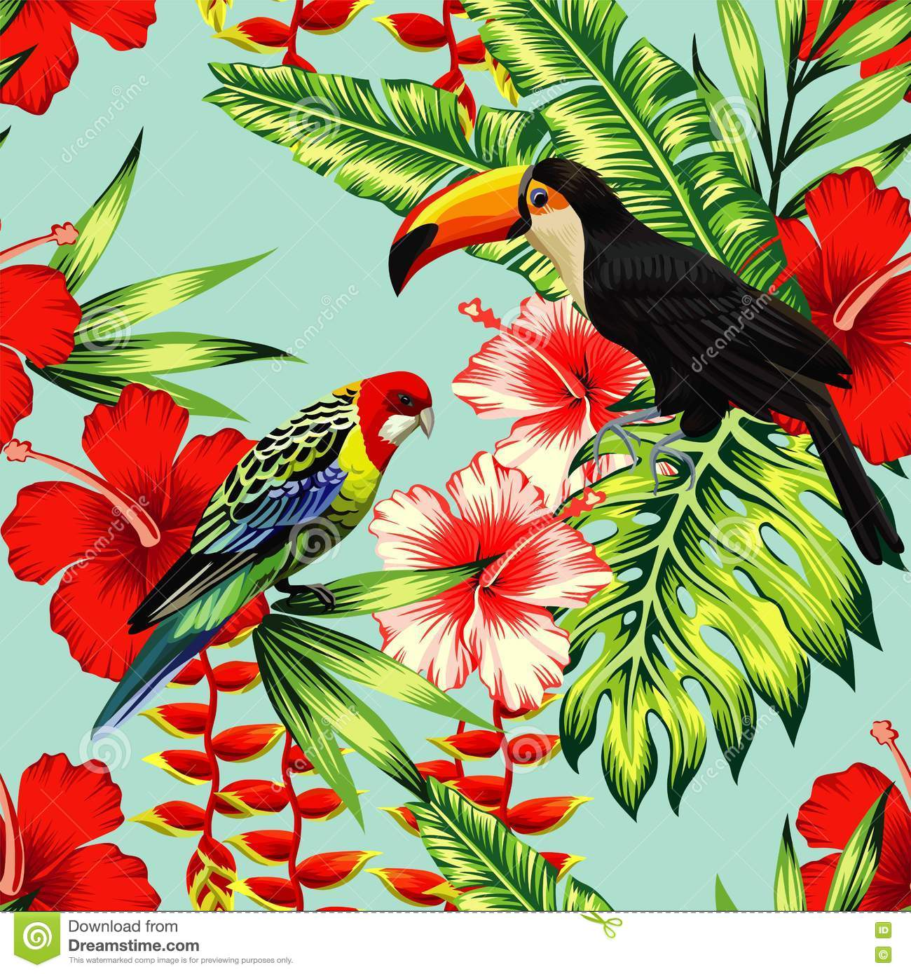 wallpaper tropical birds and foliage - photo #5