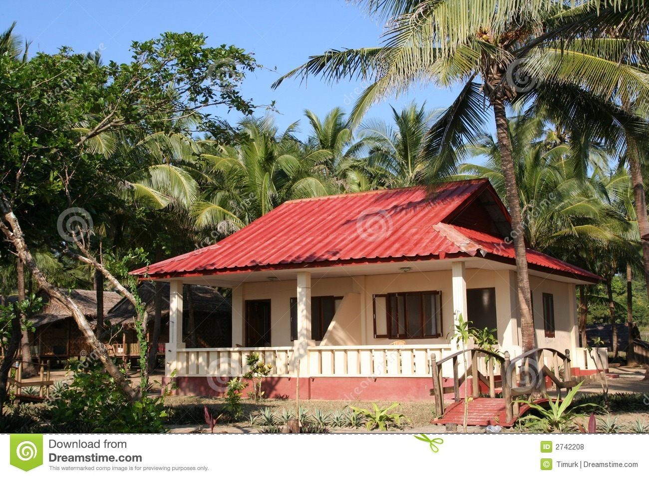 Tropical Bungalow Stock Photo Image Of Front Roof