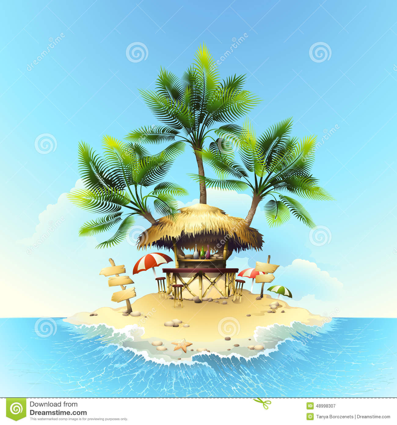 Tropical Bungalow Bar Stock Vector Illustration Of Beach