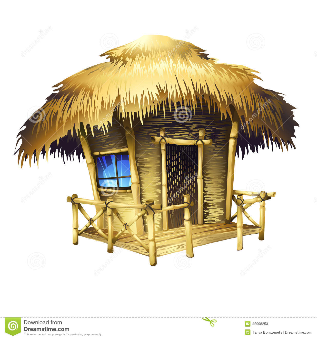 Stock Illustration Tropical Bungalow Isolated Vector Drawing Image48998253 on cabin plans