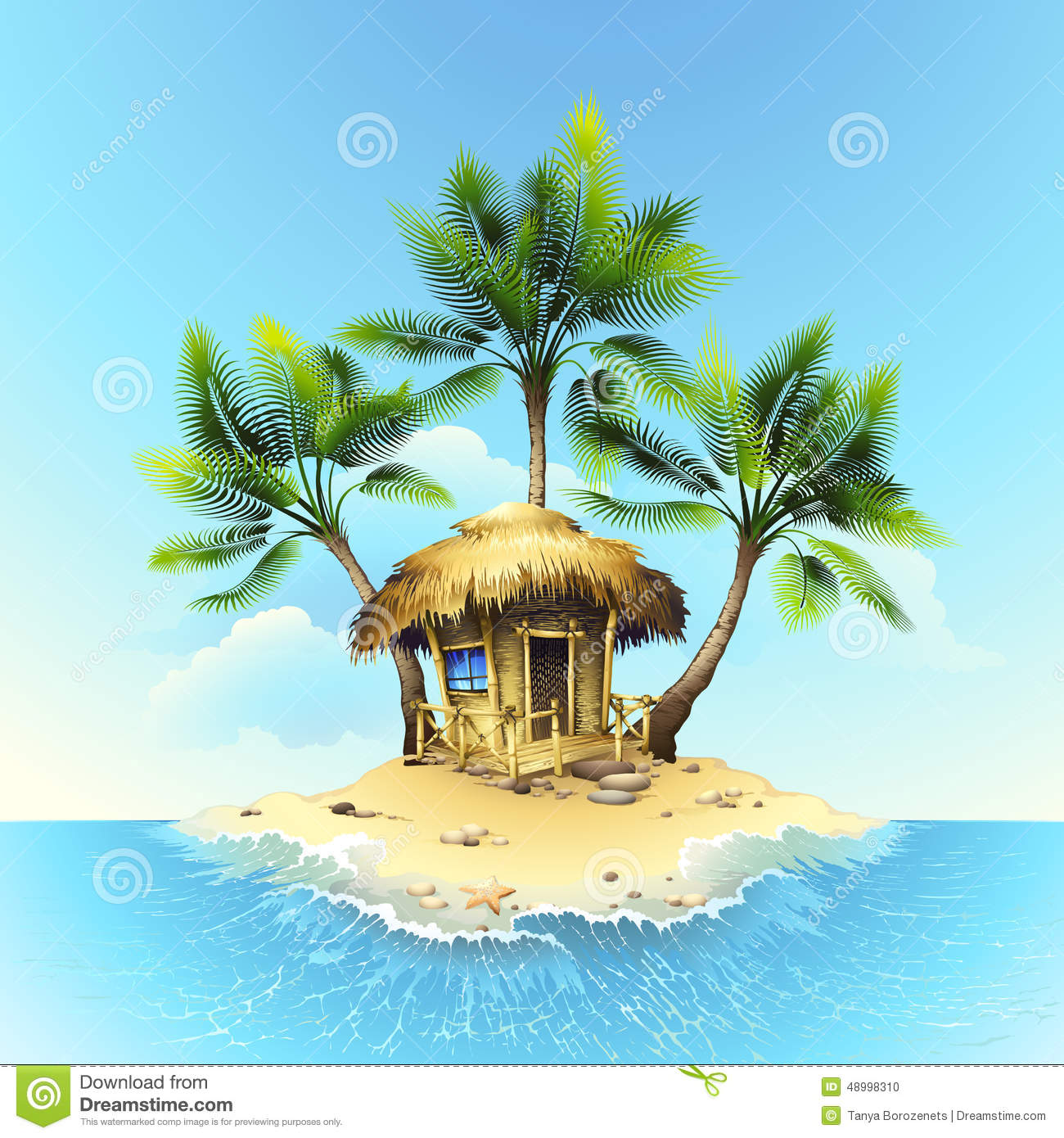Tropical Bungalow On Tropical Island Stock Vector Image