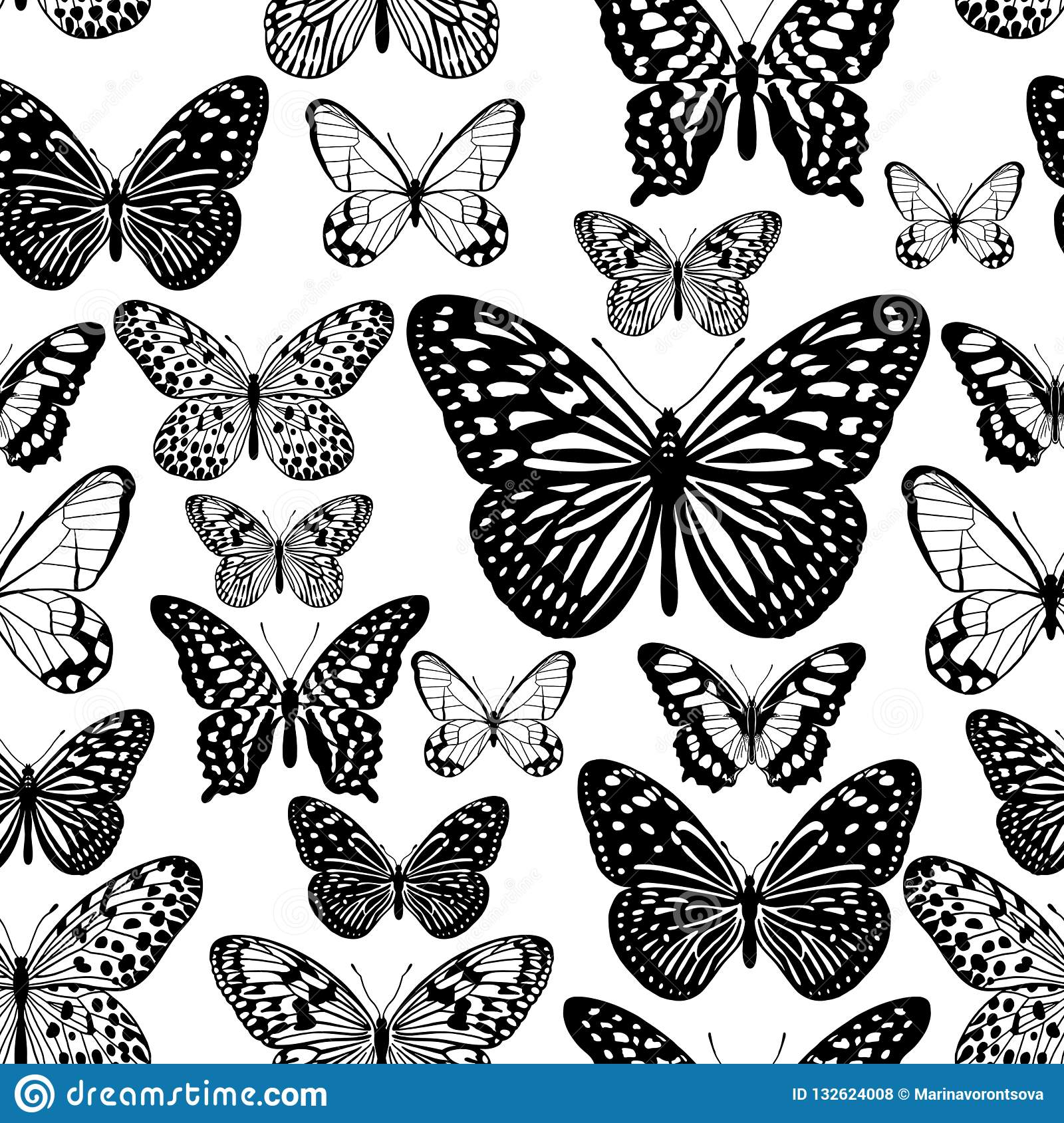 Tropical Butterflies Black And White Seamless Pattern Stock