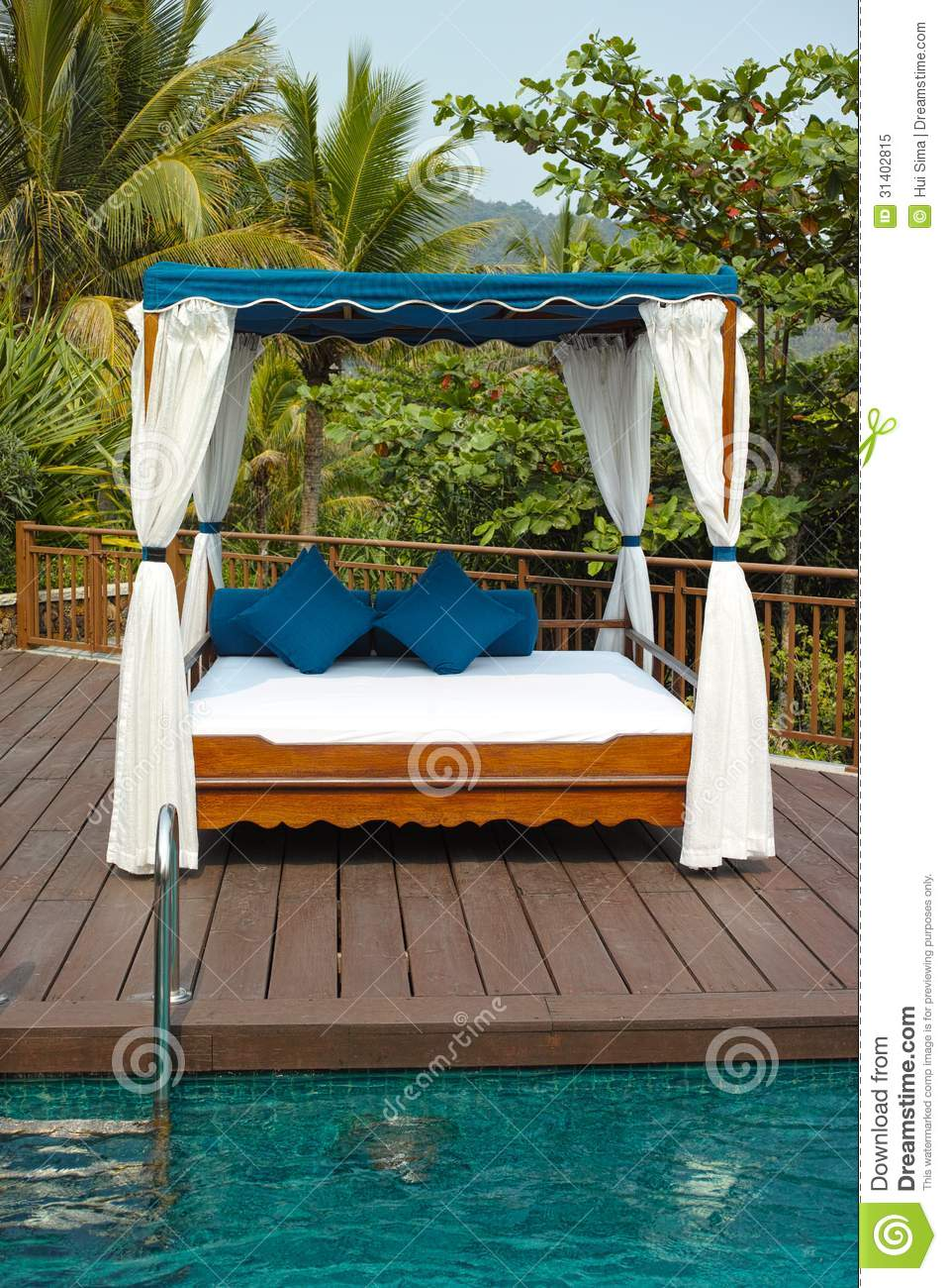 Tropical cabana and pool royalty free stock photo image for Swimming pool cabanas