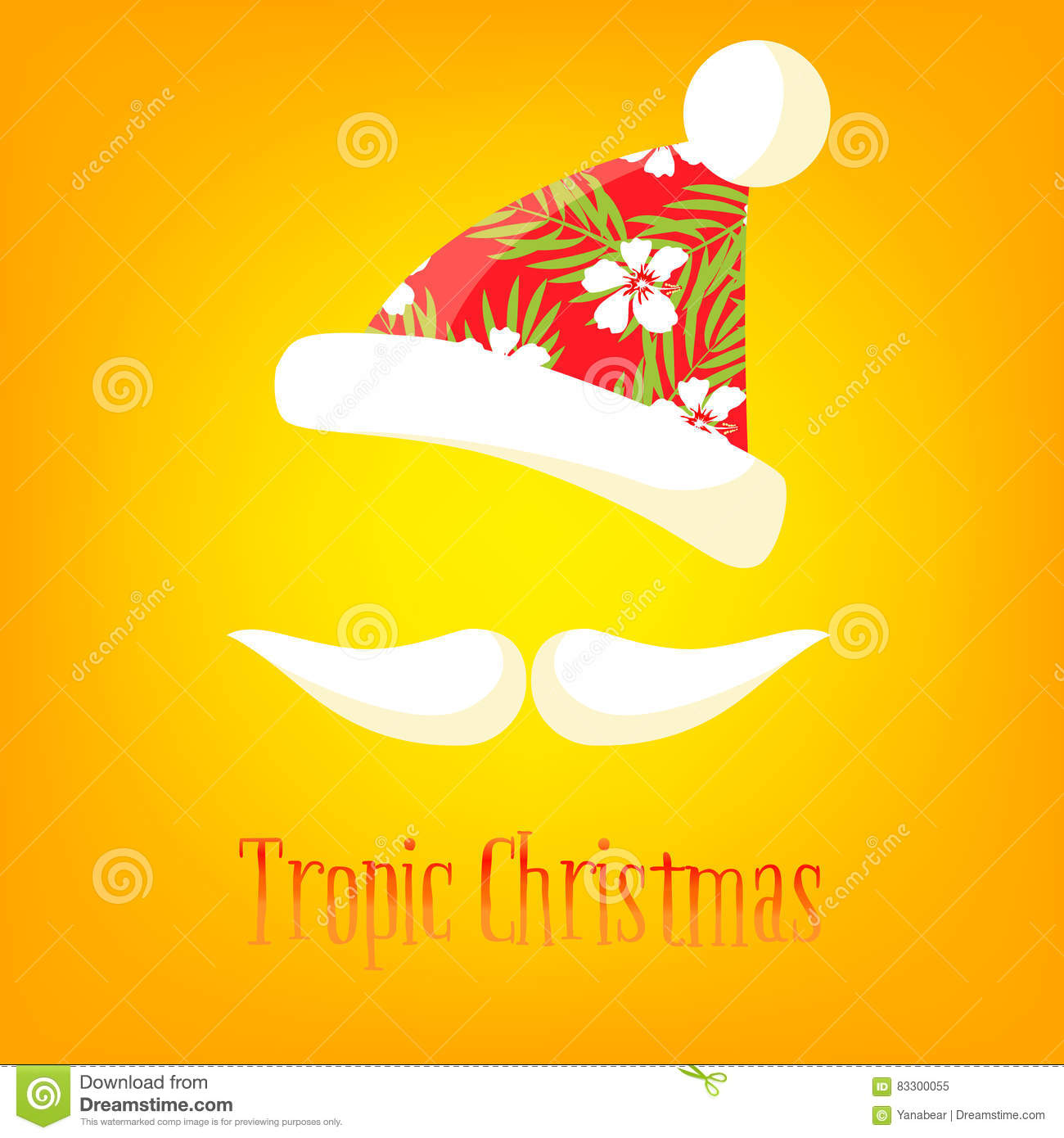 Tropical Christmas Card. Mustache And Hat Of Santa With A Summer ...