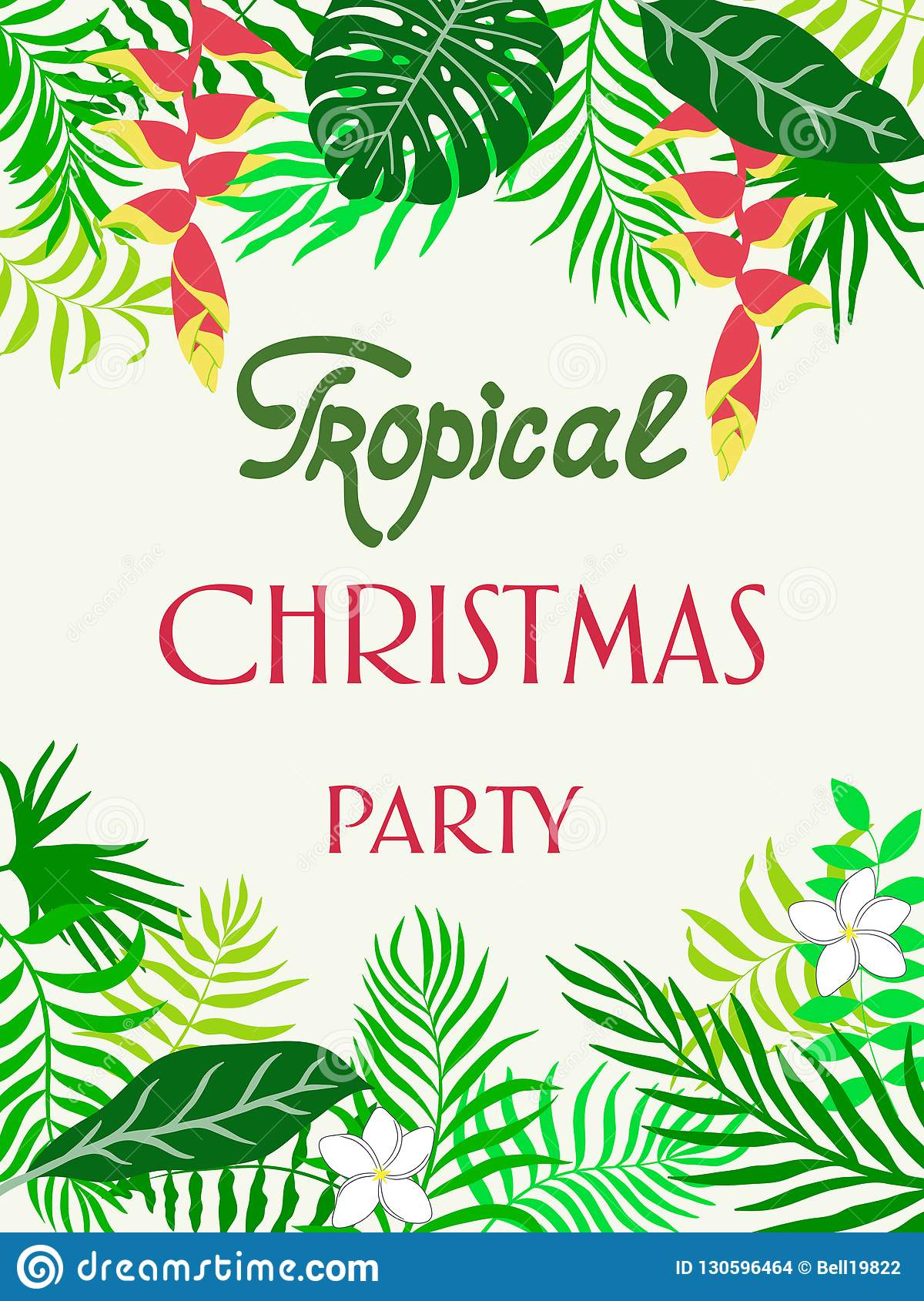 Tropical Christmas.Tropical Christmas Party Background With Hand Drawn Palm