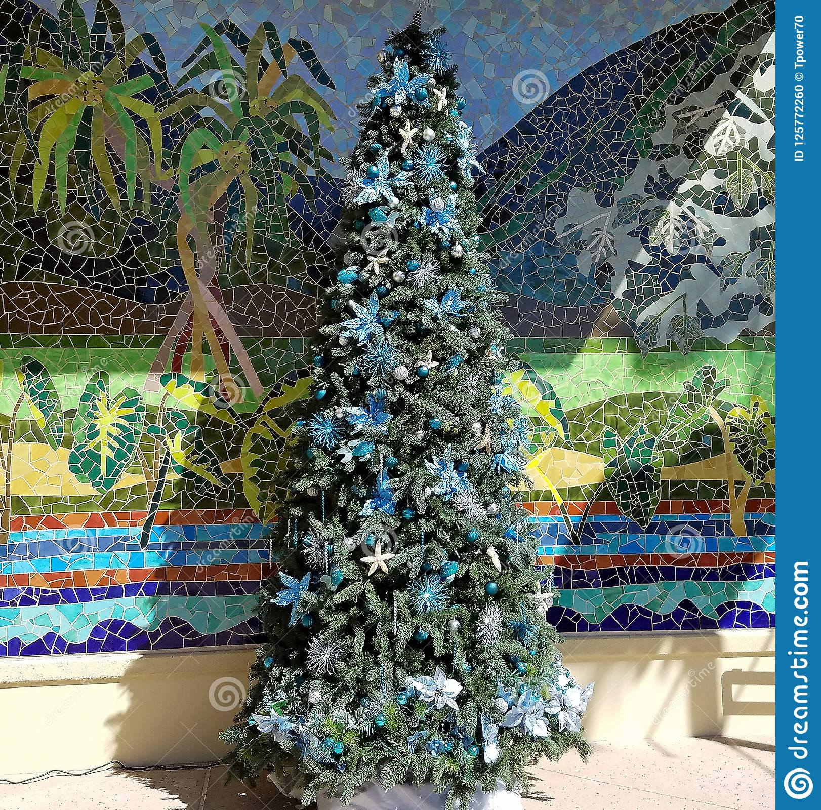 Christmas In Hawaii Decorations.Tropical Christmas Tree And Decorations Stock Photo Image