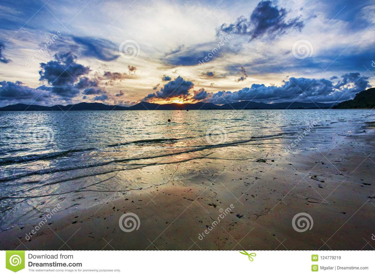 tropical scenic cloudy sunset in front of phuket thailand stock