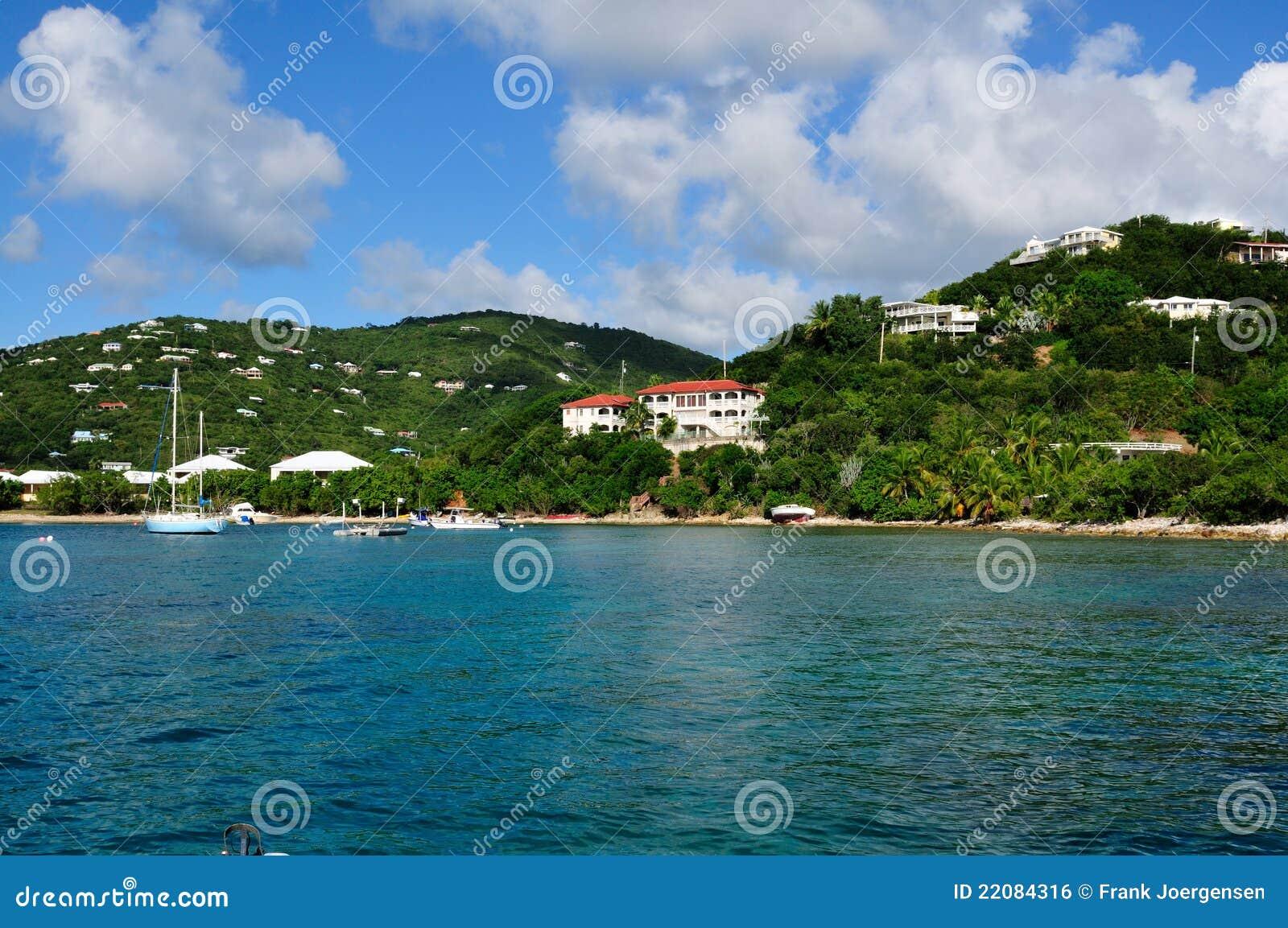 Tropical Coastline On St. John, US Virgin Island Stock