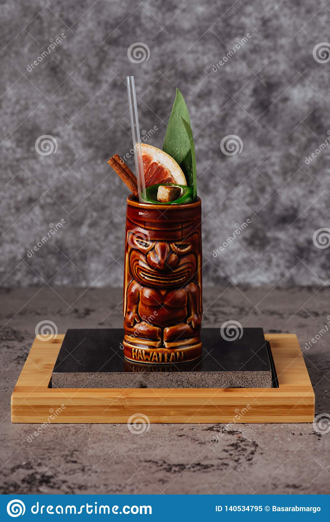 Tropical cocktail served in a tiki style glass