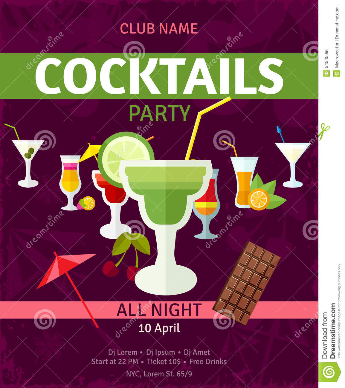 tropical cocktails night party invitation poster stock vector image 54545086. Black Bedroom Furniture Sets. Home Design Ideas
