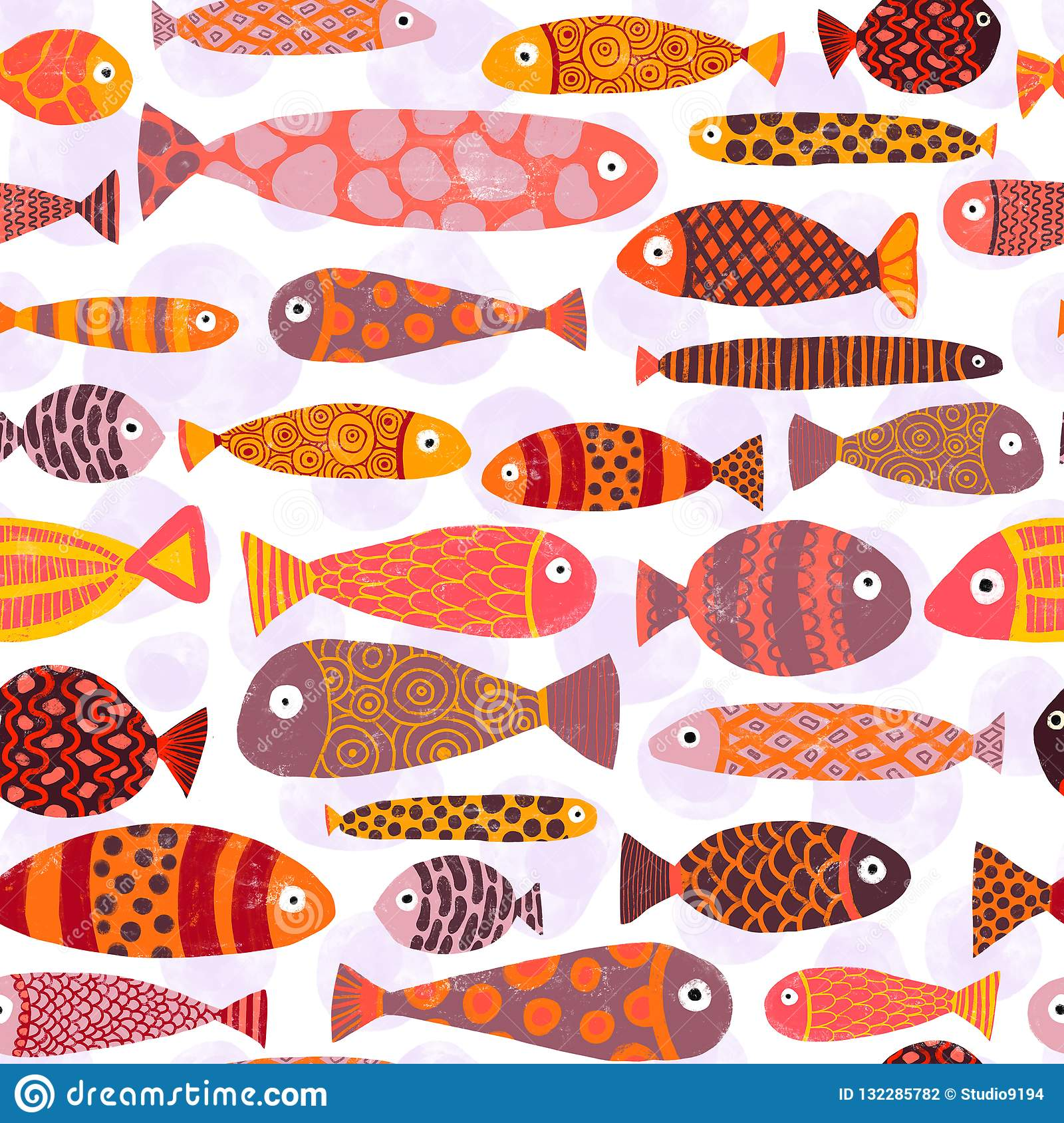 Tropical Colorful Exotic Fish Swarm Seamless Pattern
