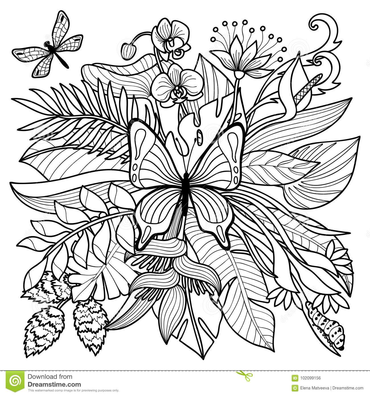 Tropical Flowers Plants And Insects Composition Floral Coloring Page