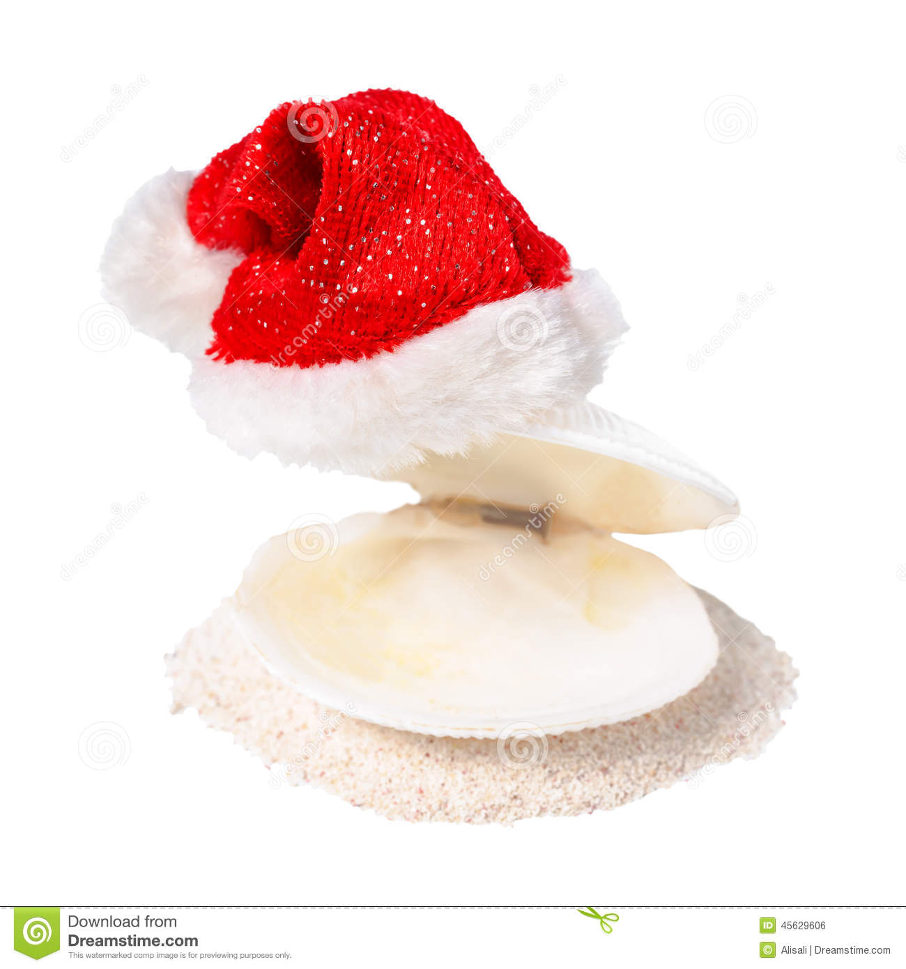 Tropical concept of Christmas with red Santa Claus hats on shell