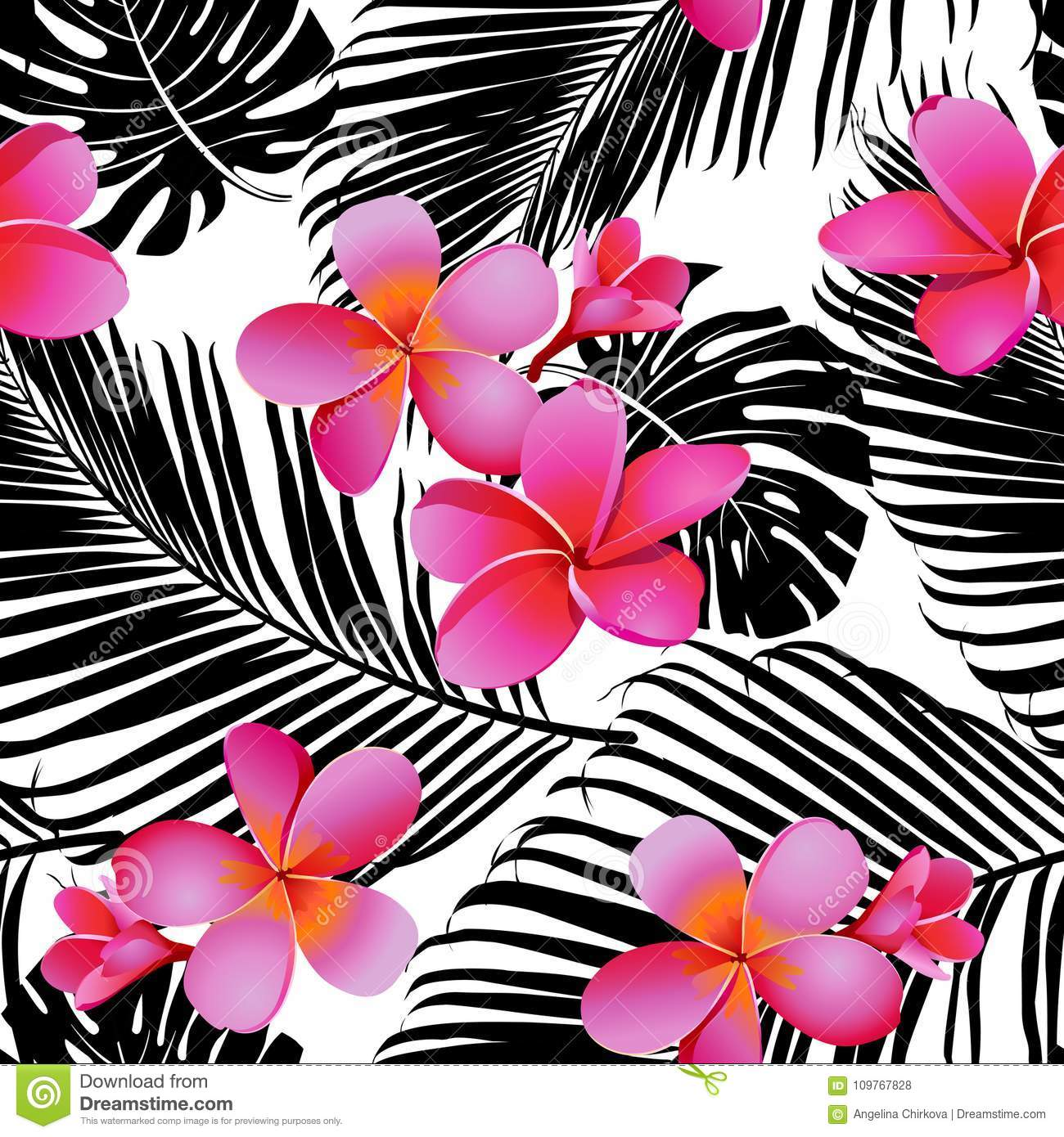 Tropical coral flowers and leaves on black and white background tropical coral flowers and leaves on black and white background seamless vector mightylinksfo
