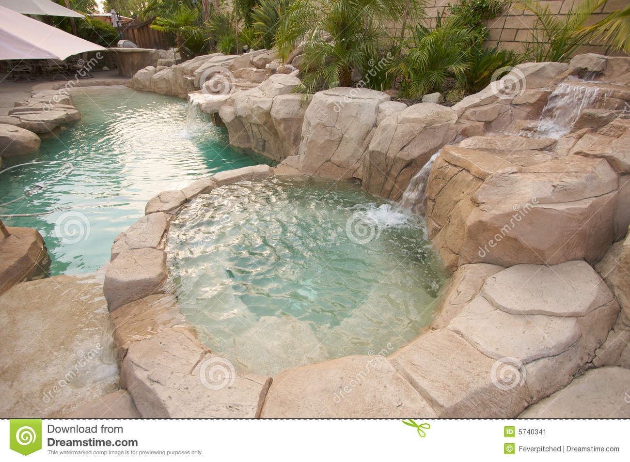Tropical Custom Pool Amp Jacuzzi Stock Image Image 5740341