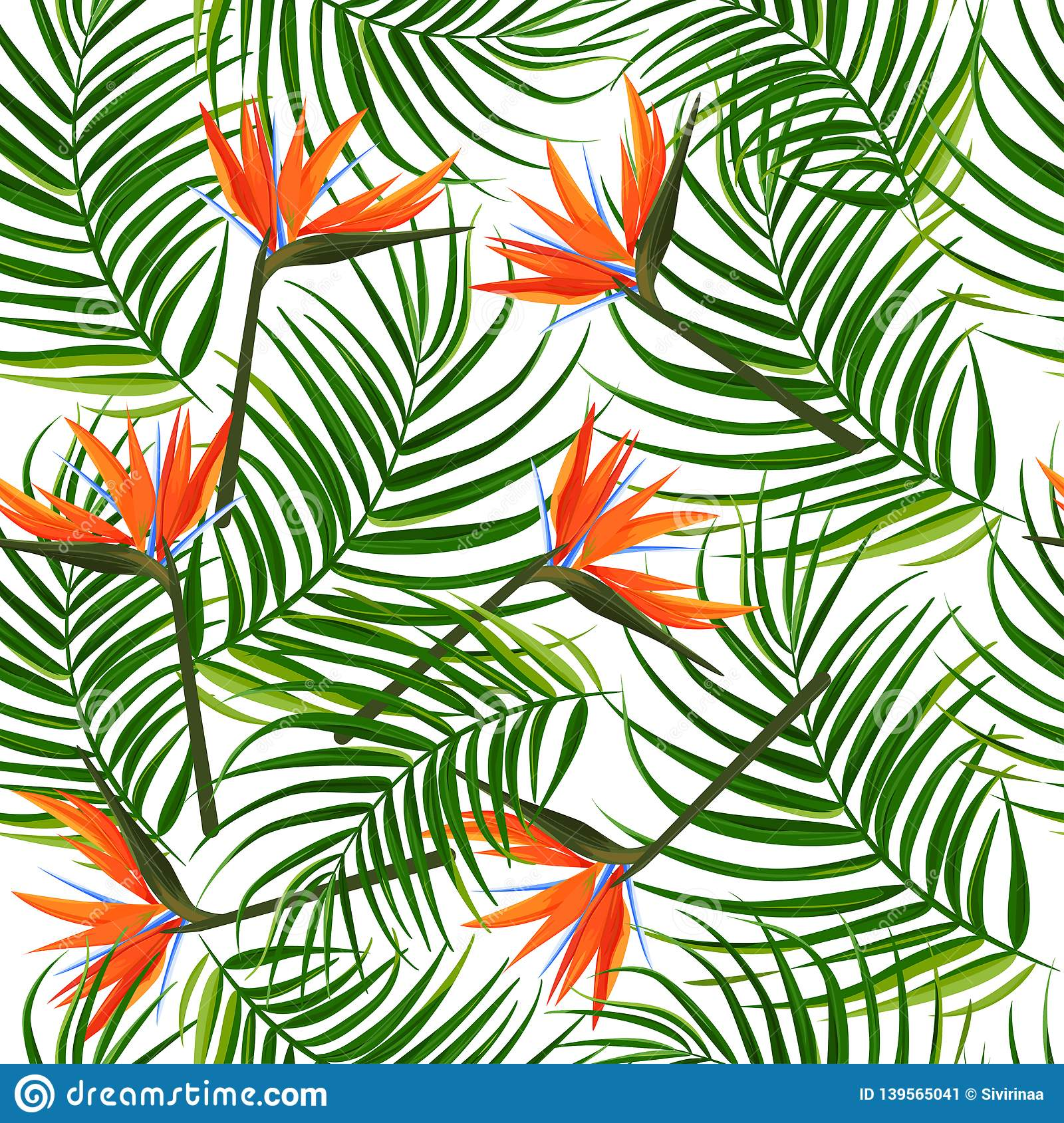 Tropical Dark Green Leaves Of Palm Trees And Flowers Bird Of