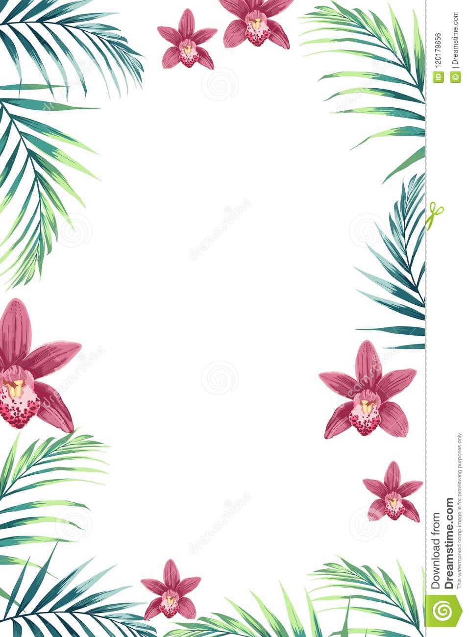 tropical design border frame template with green jungle palm tree