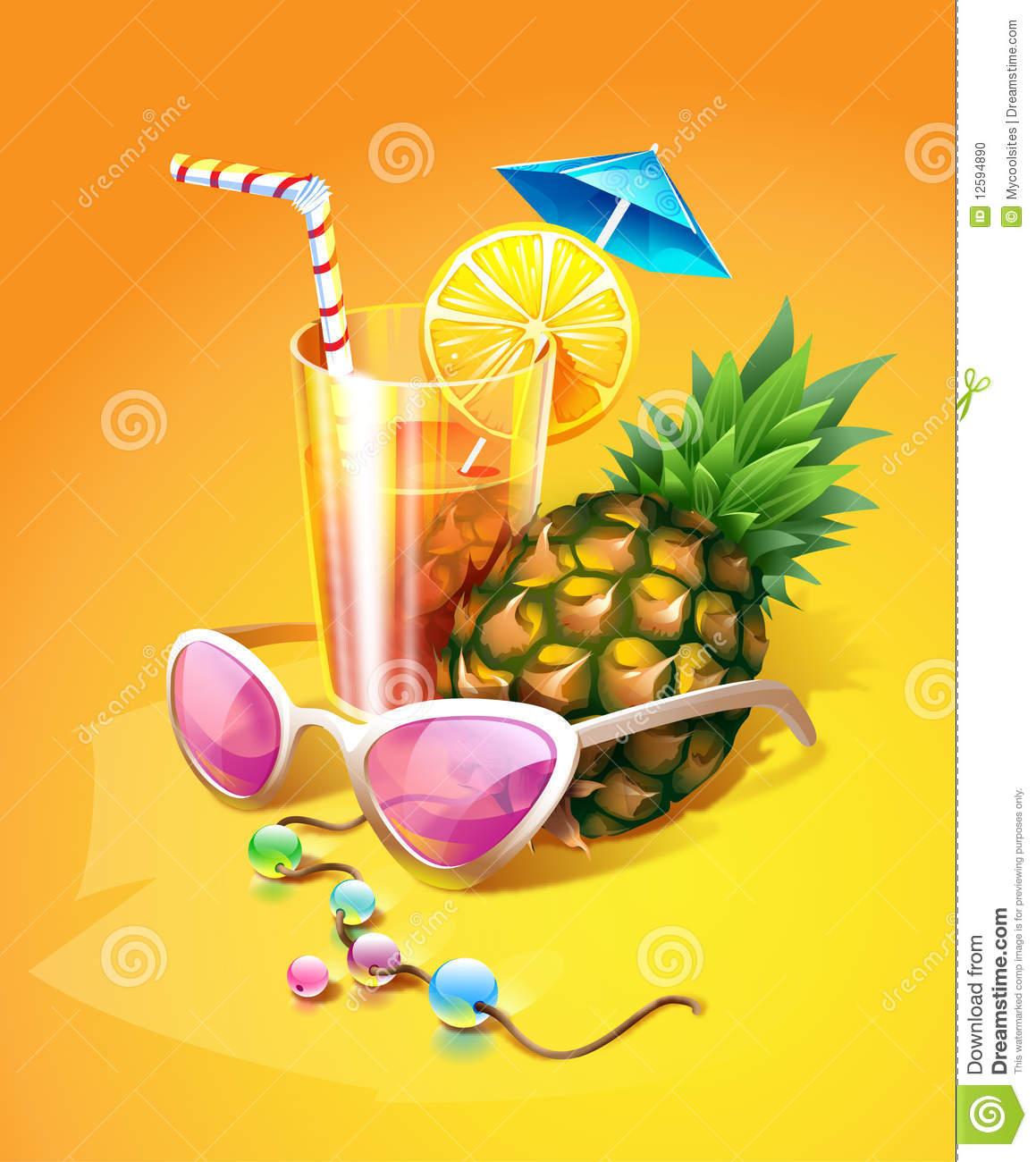 Tropical Drink, Pineapple, Sunglasses And Beads Stock ...