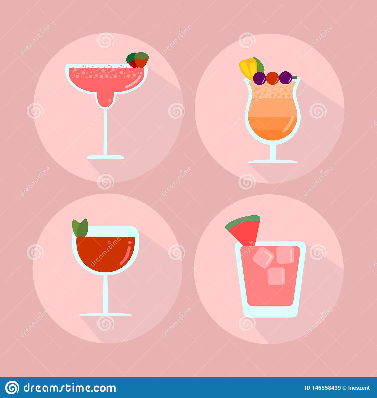 Tropical drinks flat icon