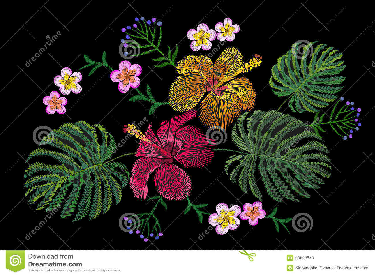 Tropical Embroidery Flower Arrangement Exotic Plant Blossom Summer Jungle Fashion Print
