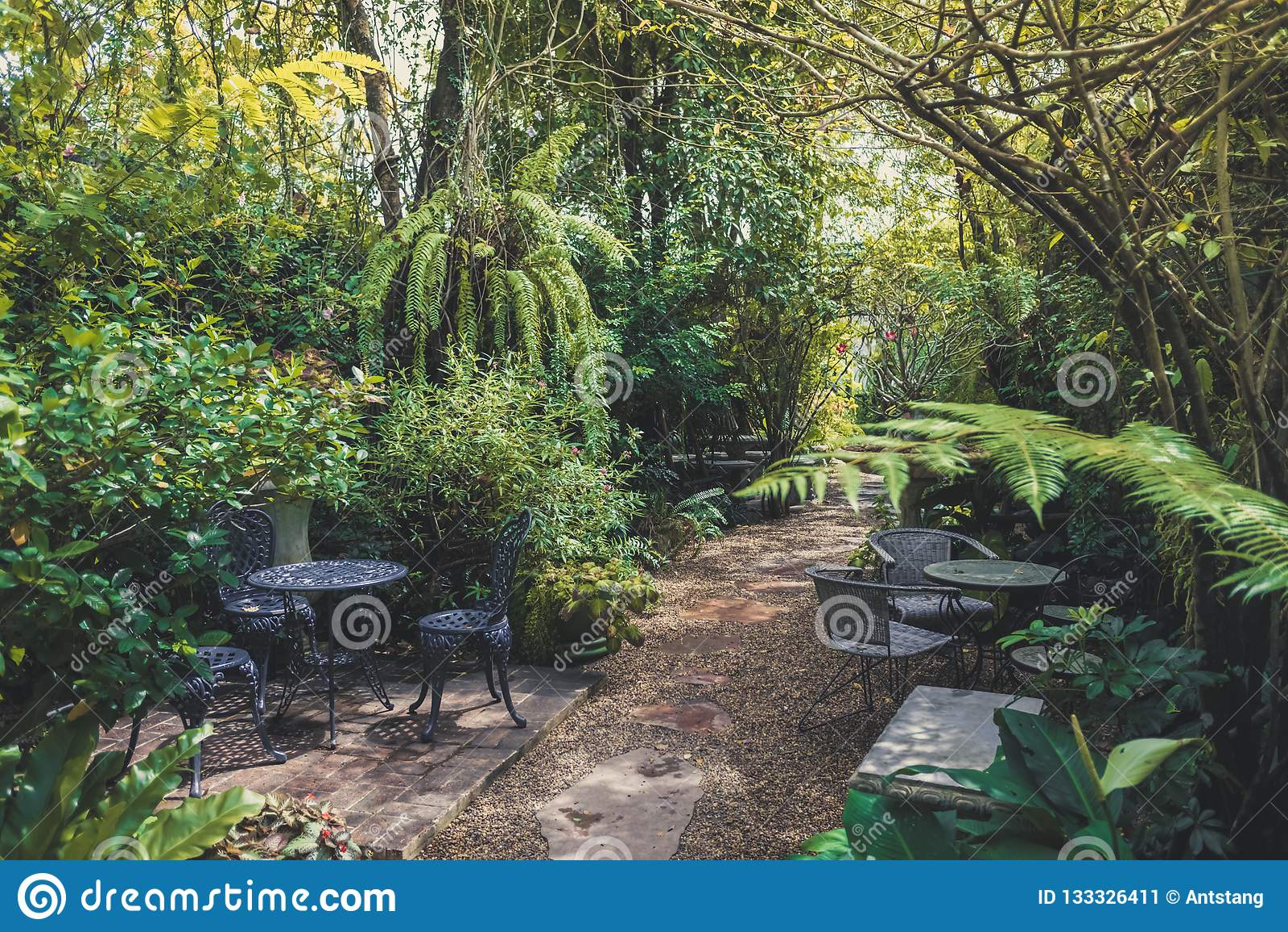 Tropical English Garden Style For Home Interior Decoration Stock