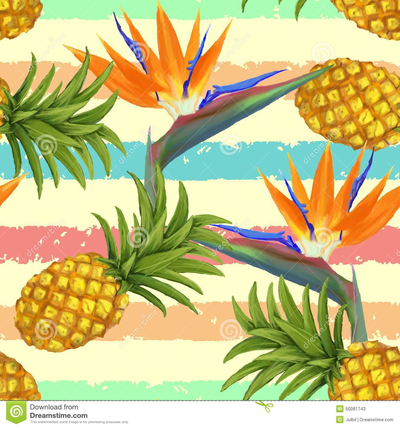 tropical exotic flowers and pineapple seamless stock