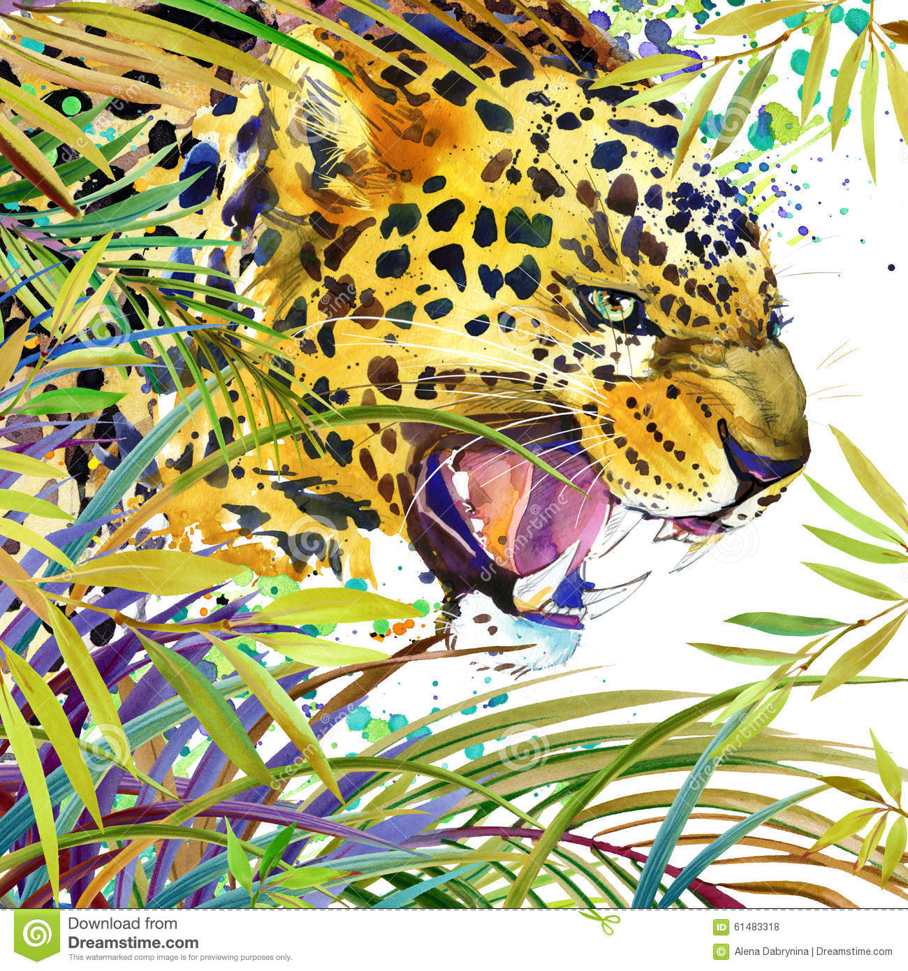 Tropical exotic forest, jaguar, green leaves, wildlife, watercolor illustration.