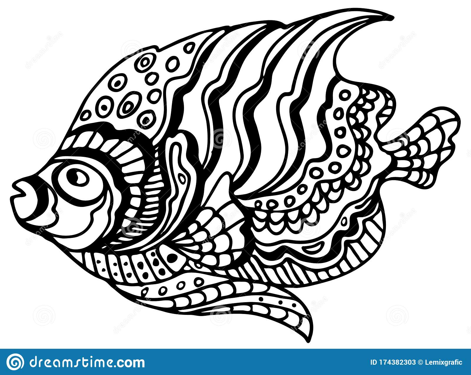 Tropical Fish Coloring Page Black And White Underwater World Anti Stress Coloring For Adult And Children Vector Illustration Stock Vector Illustration Of Antistress Design 174382303