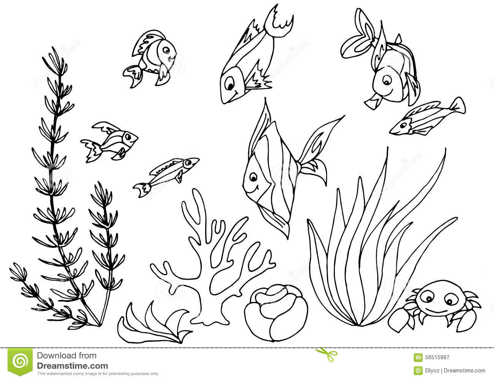 fish aquarium decorations coloring pages | Tropical Fish Hand Drawn Design Set. Stock Vector ...