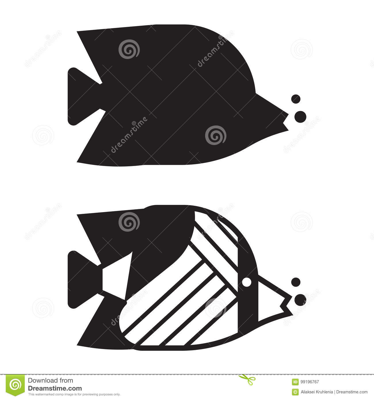 tropical fish outline icon or logo stock vector illustration of
