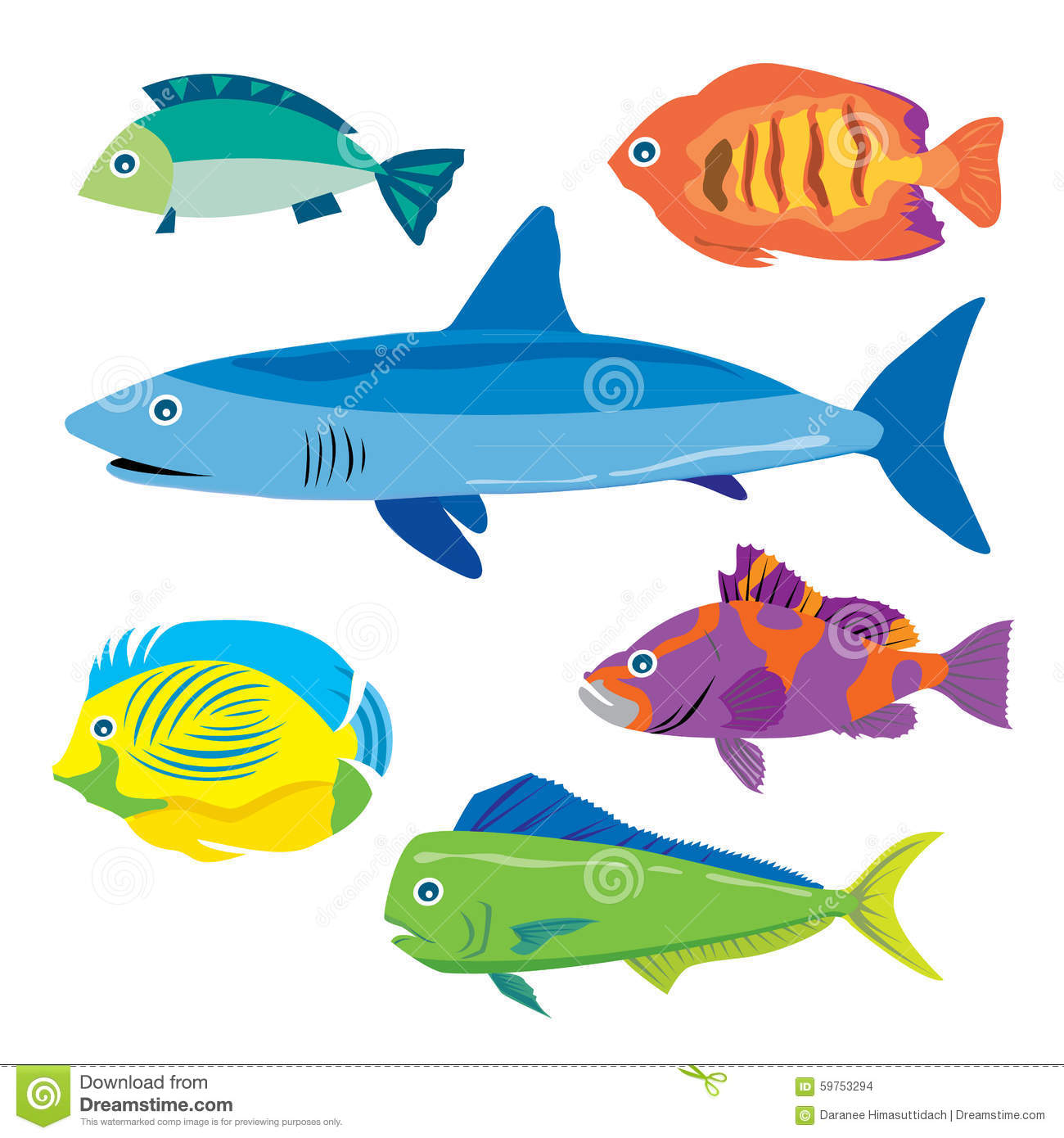 Tropical fish water animal vector cartoon