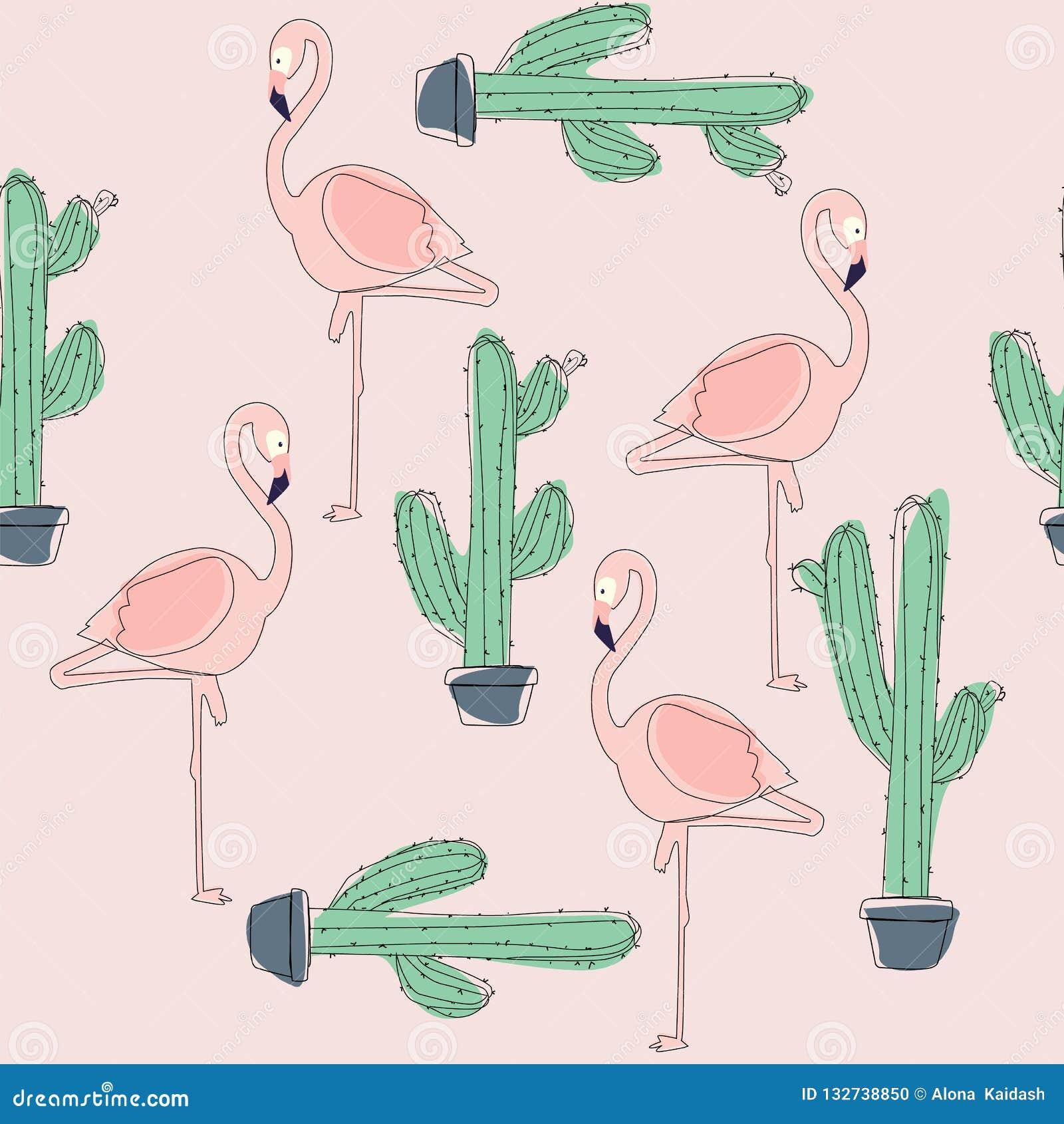 Tropical Flamingo Bird and Cactus Background.