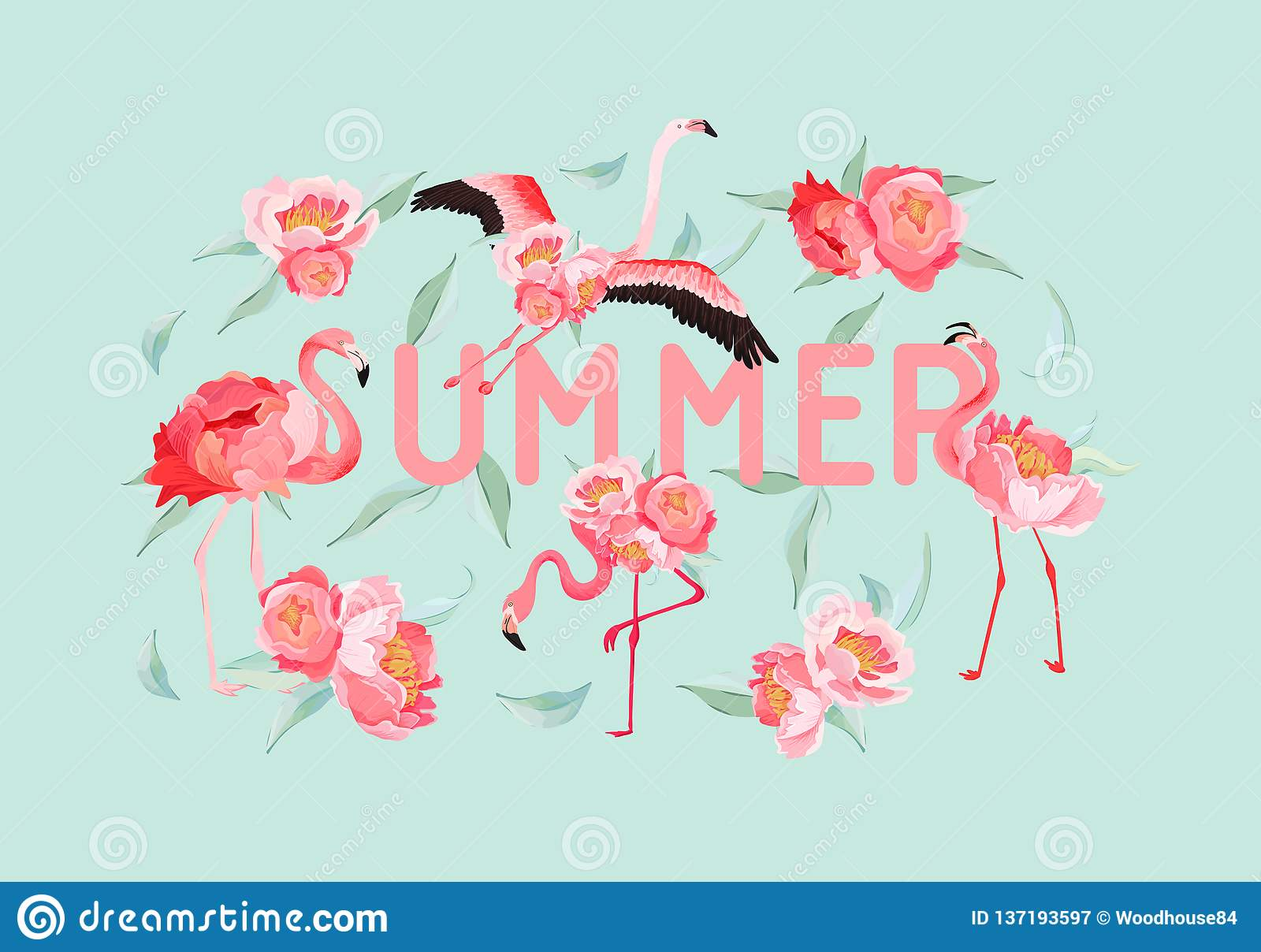 Tropical Flamingo Vector Summer Flyer Banner With Peony Flowers
