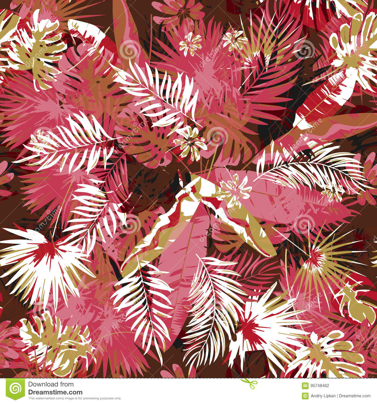 Tropical floral seamless palm trees pattern a camouflage background trendy colors. Graphic painting exotic plants and
