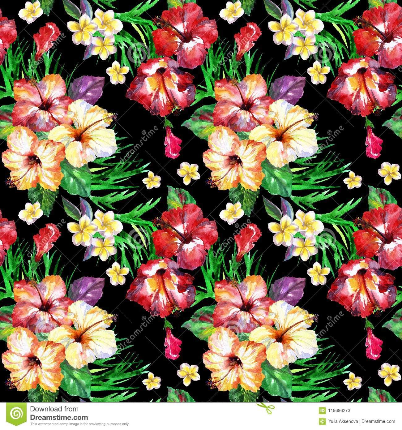Tropical Floral Pattern On A Black Watercolor Painted Flowers