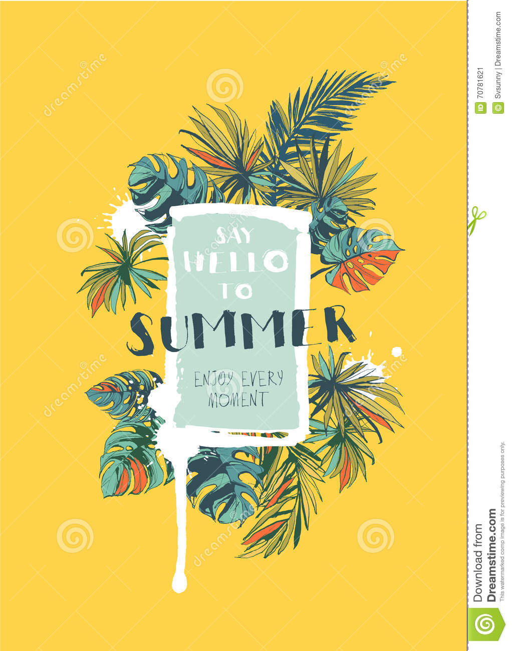 tropical floral summer party poster with palm beach leaves colo