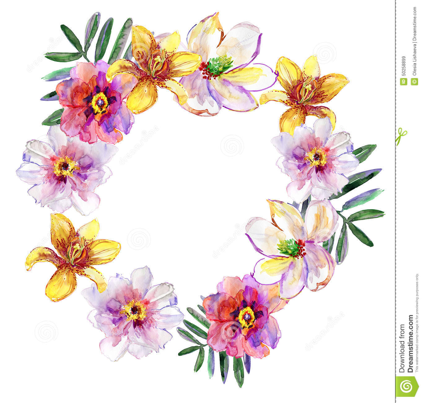 Tropical Floral Wreath Bouquet Drawn In Watercolor