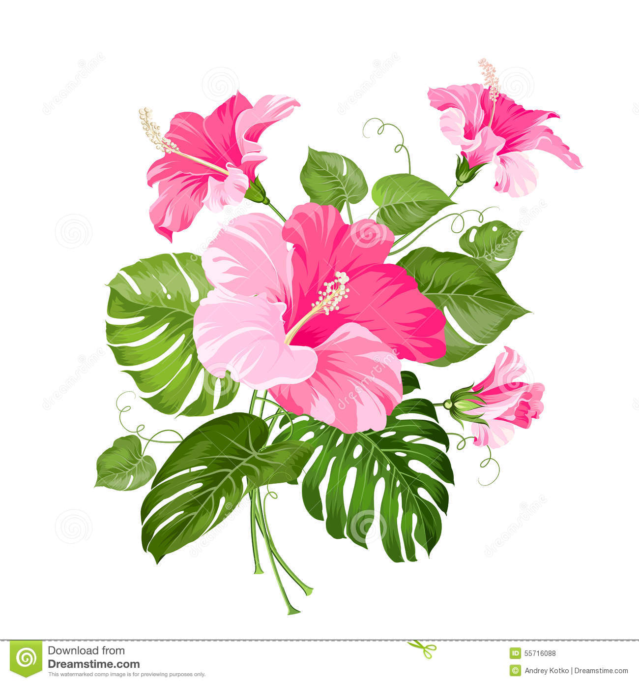 tropical flower garland stock vector illustration of graphic 55716088 hibiscus flower clip art in black hibiscus flower clipart