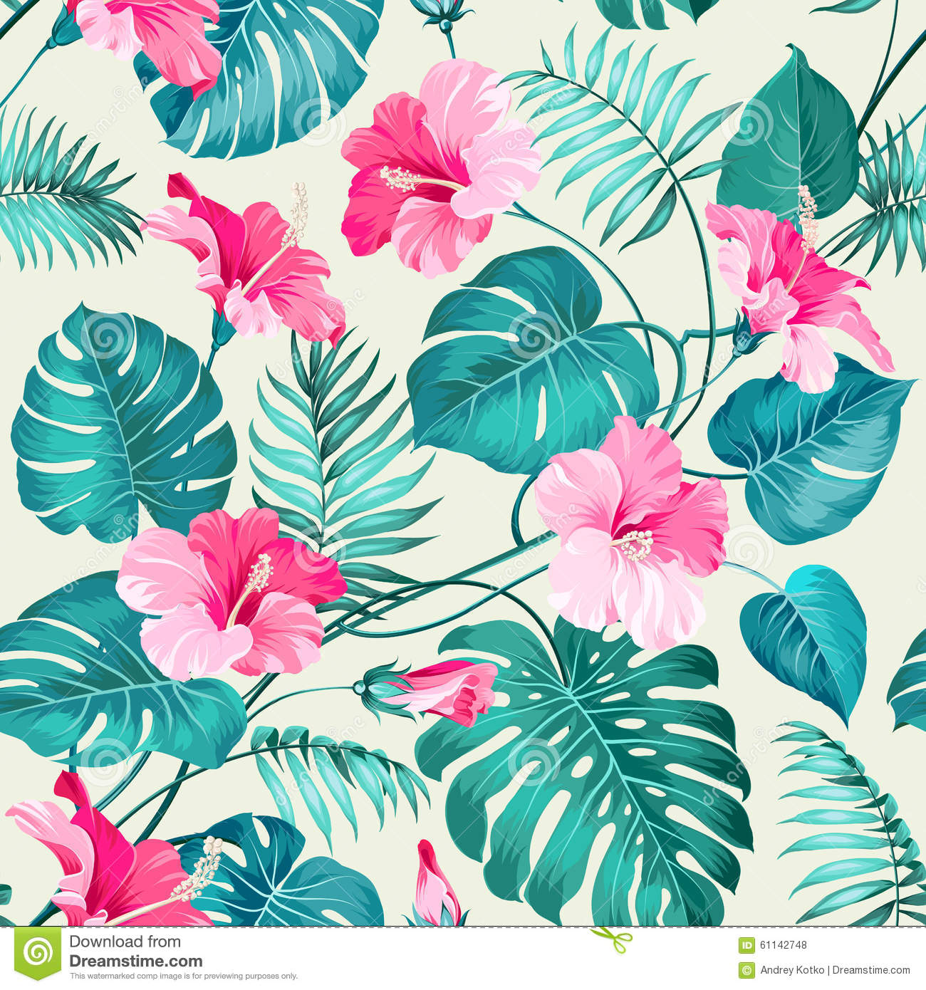 Tropical Flower Pattern Stock Vector Illustration Of Abstract