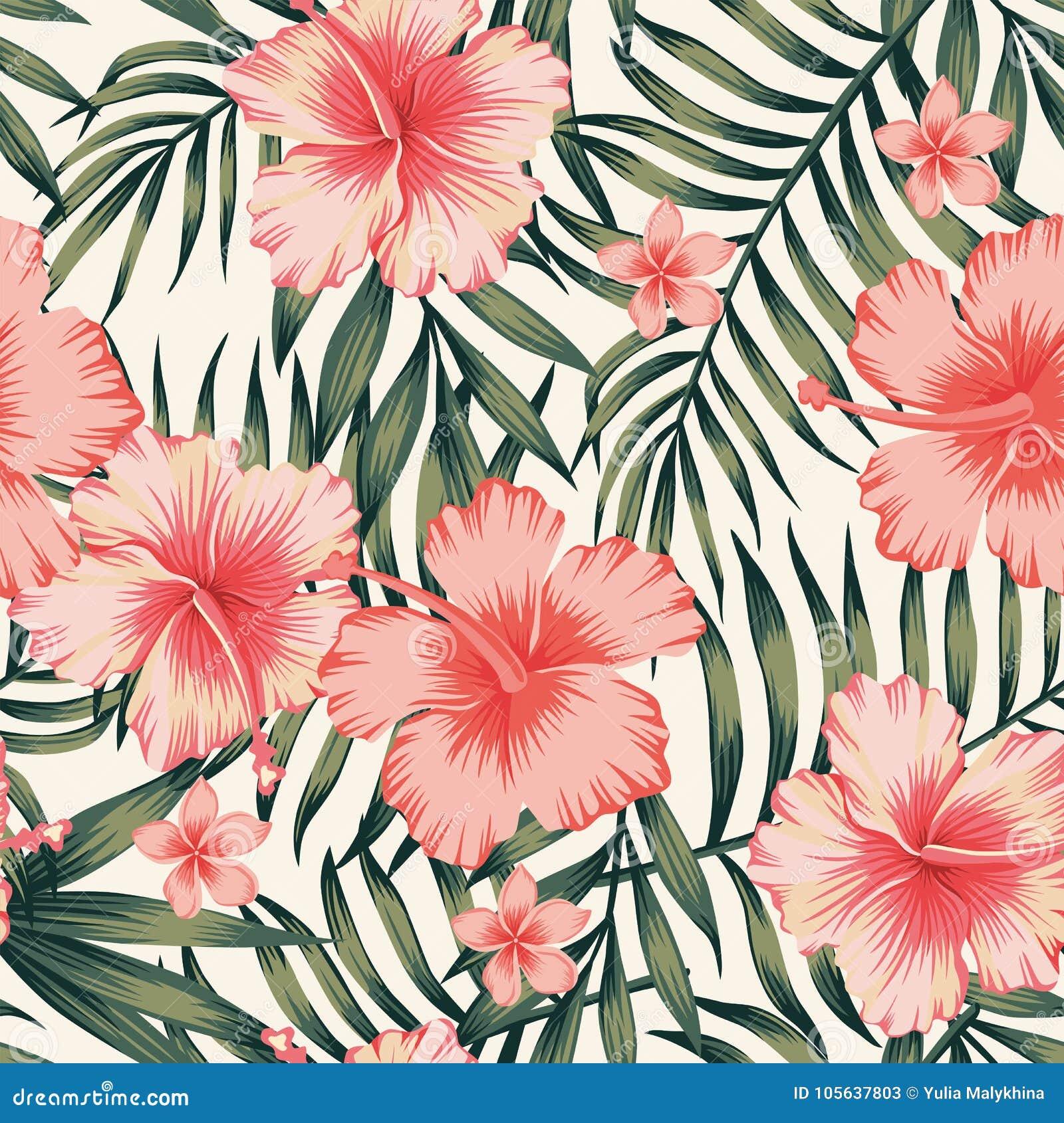Pink Flowers Wallpaper: Hibiscus Pink Palm Leaves Dark Green Pattern Stock Vector