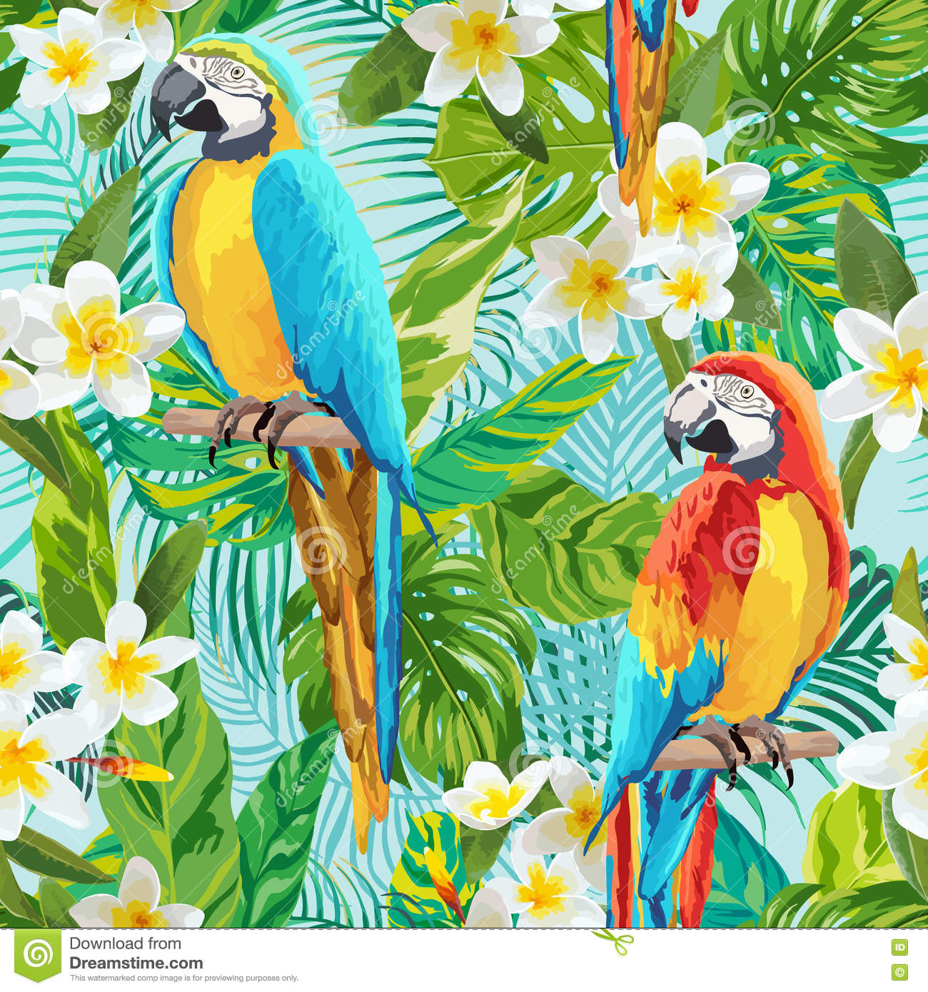 Vintage Style Tropical Bird And Flowers Background: Tropical Flowers And Birds Background
