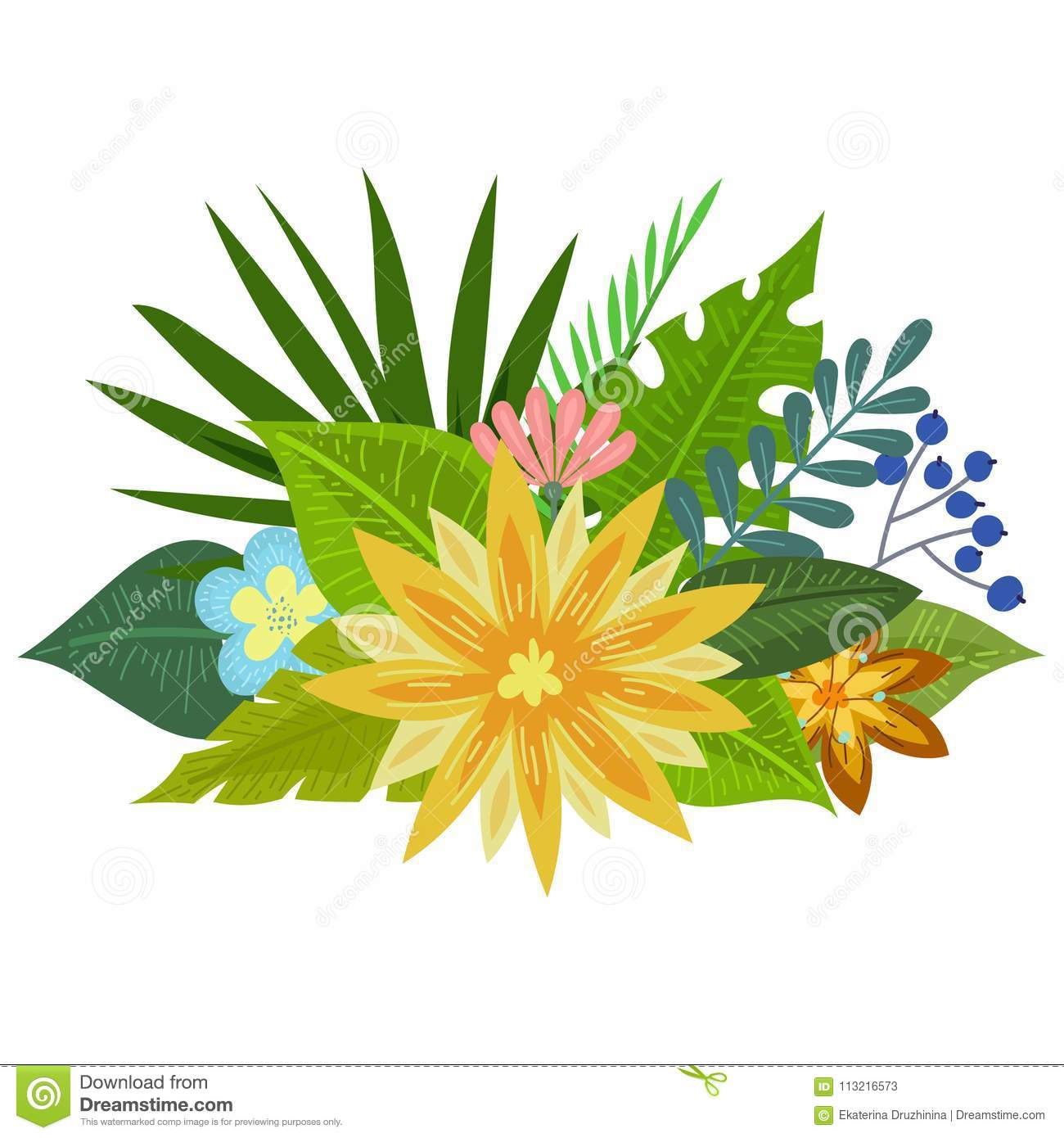 Tropical flowers bouquet stock vector. Illustration of garden ...