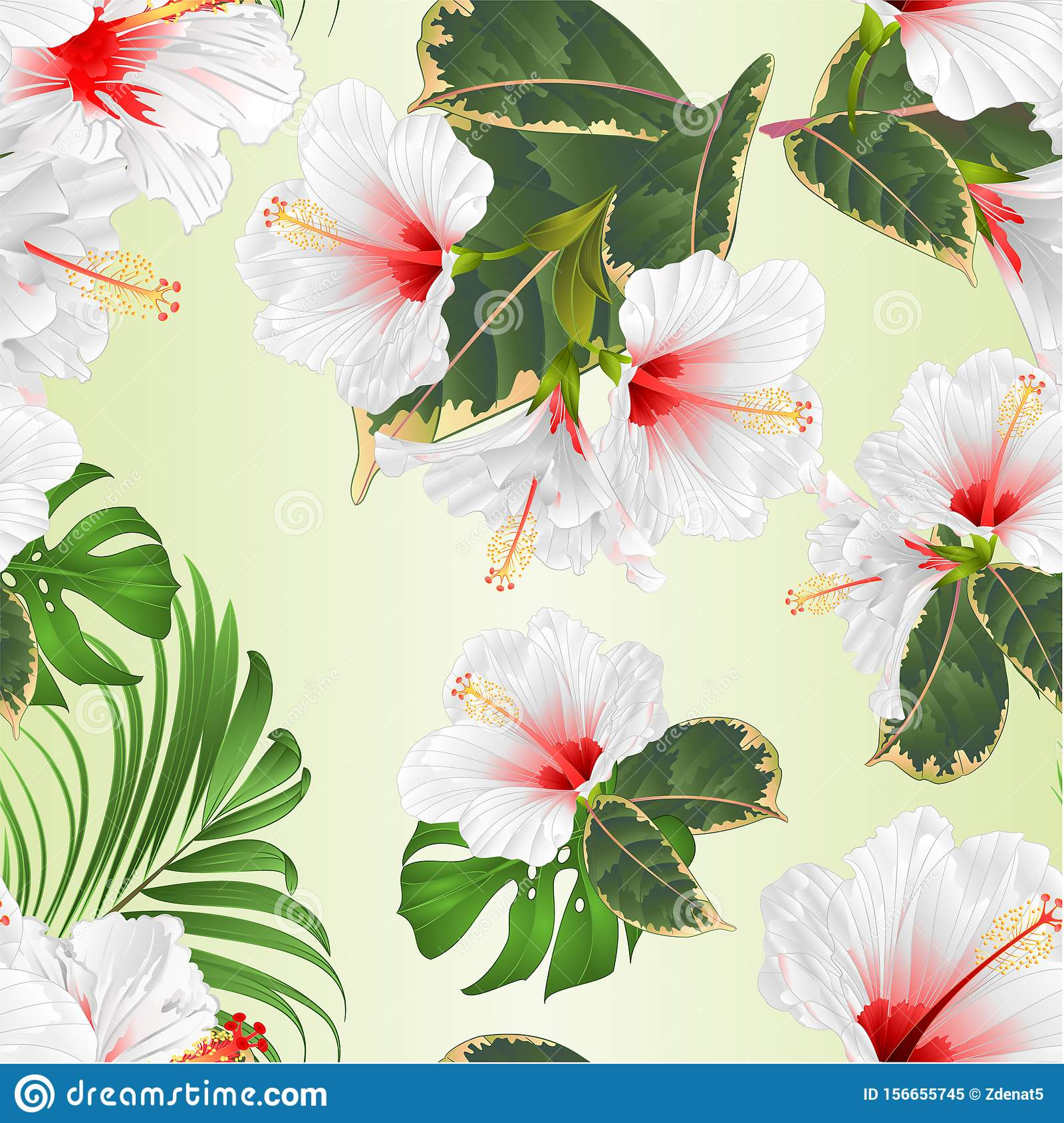 Tropical Flowers Floral Arrangement With White Hibiscus And Ficus Watercolor On A White Background Vintage Vector Illustration Stock Vector Illustration Of Hibiscus Bouquet 156655745