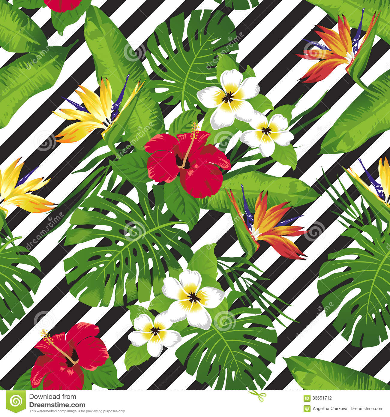 Tropical flowers and leaves on diagonal background.